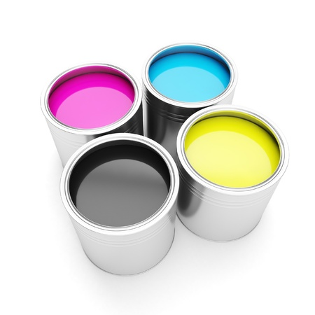 offset view: Printing technologies. CMYK colors, and four cans of paint on a white background