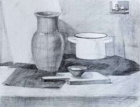 pencil drawing: Still life, pencil drawing canvas