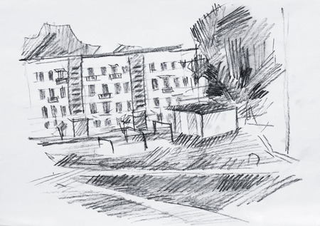 Street, pencil drawing on canvas photo