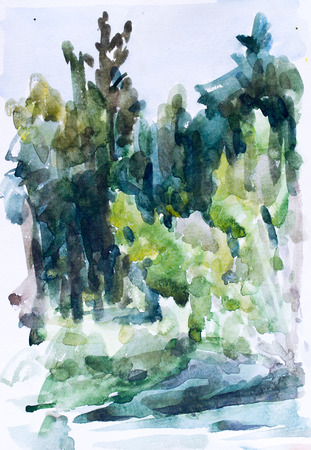 Green forest, watercolor painting for your design
