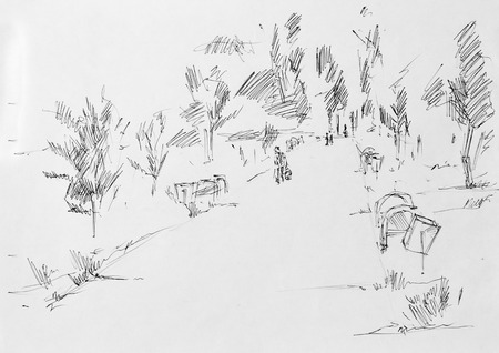 hand with pencil: Alley in park, sketch pencil
