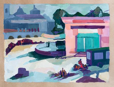 city park: City park, watercolor drawing