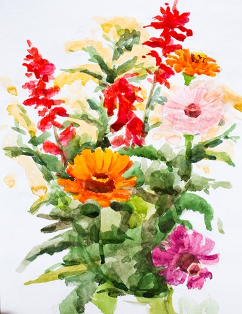 Flowers, watercolor painting for your design photo