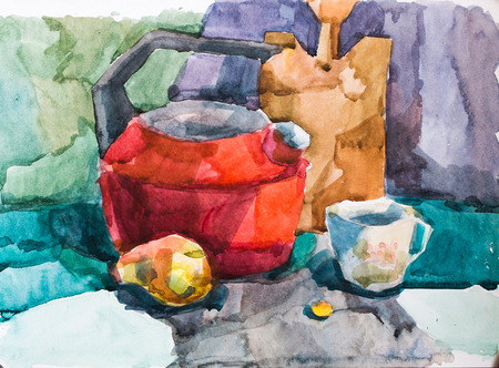 Still life, watercolor drawing canvas 写真素材