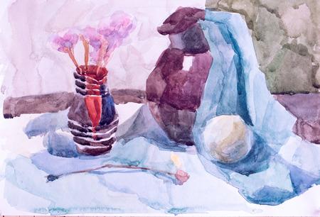 Still life, watercolor drawing canvas Standard-Bild