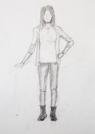 scetch: Sketch of girl, pencil drawing