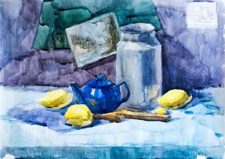 Still life, watercolor drawing canvas photo
