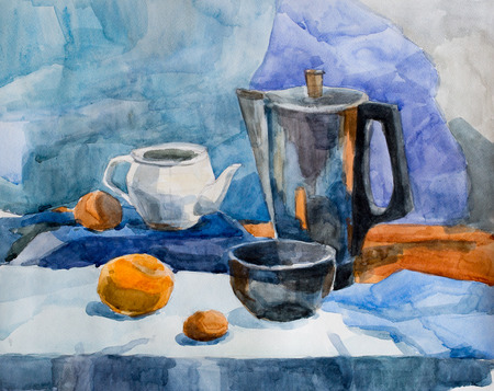 Still life, watercolor drawing canvas Stock Photo
