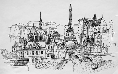 black and white image drawing: Paris, pencil drawing