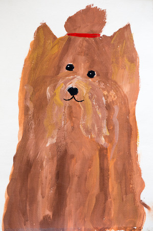 Dog, watercolor painting photo