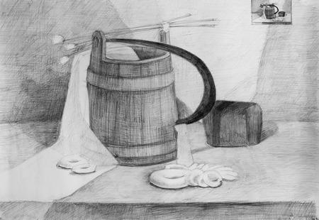 still: Still life, pencil drawing canvas