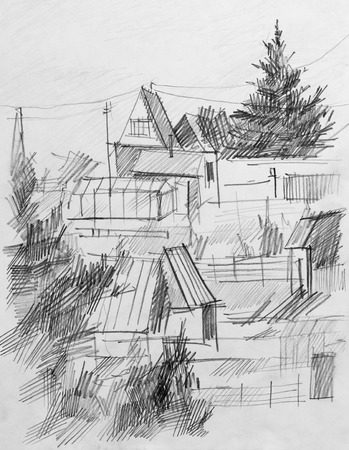 colony: Summer colony, pencil drawing