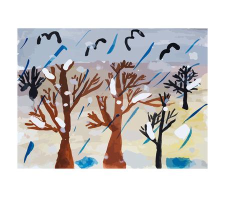 rainy day: Rainy day, vector illustration