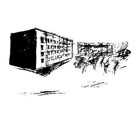 thoroughfare: Street, vector illustration on canvas Illustration