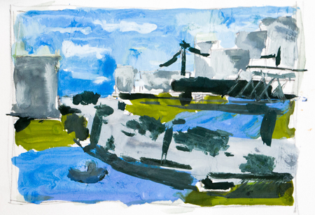 abstract city: Abstract city, watercolor background
