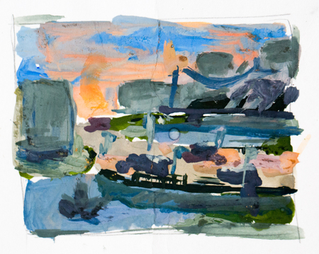 city background: Abstract city, watercolor background
