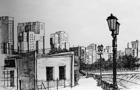 Street on City, pencil drawing