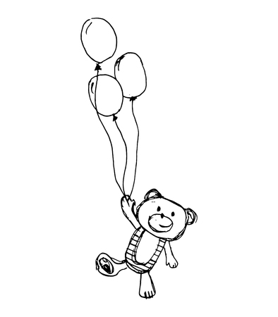 Bear and balloon, vector illustration Ilustração