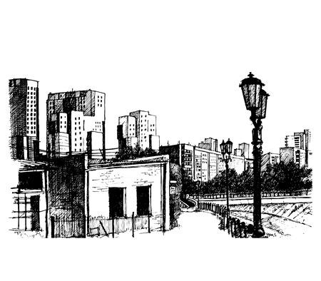 Street on City, vector illustration