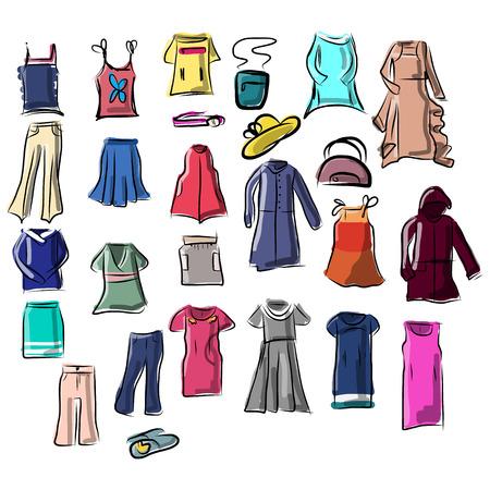 Set of Clothes, vector illustration Ilustração