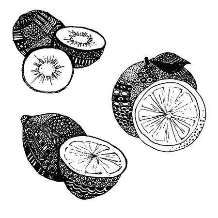 mandarin: Lemon, mandarin and kiwi, vector illustration