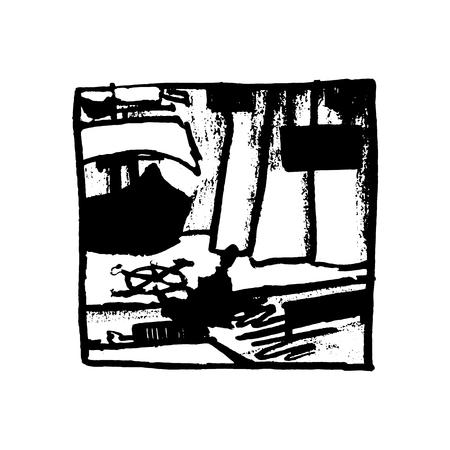 portiere: Scene in theater, vector illustration