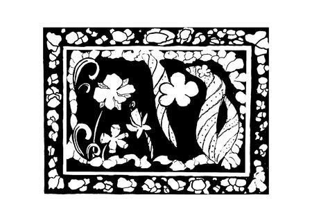 Frame and flowers, vector illustration Ilustração