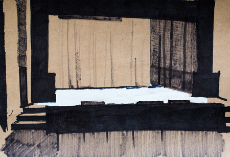 portiere: Scene in theater, pencil illustration