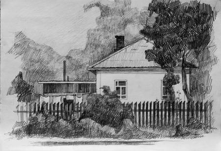 House in village, pencil sketch