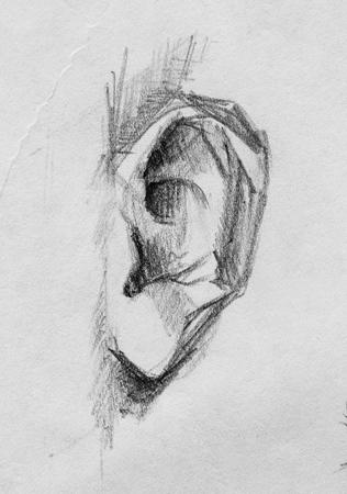 My Ear, pencil illustration Stock Illustration - 51628240