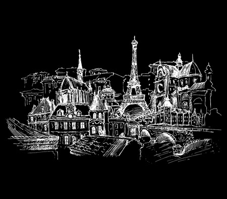classic art: Paris, vector illustration for your design