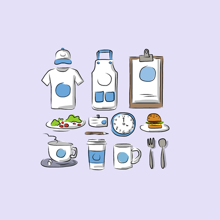 pinafore: Mock up set of sketch, vector illustration