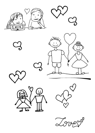 Boy and girl, vector illustration on your canvas