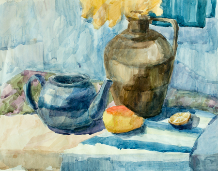 still life: Still life, watercolor drawing canvas Stock Photo