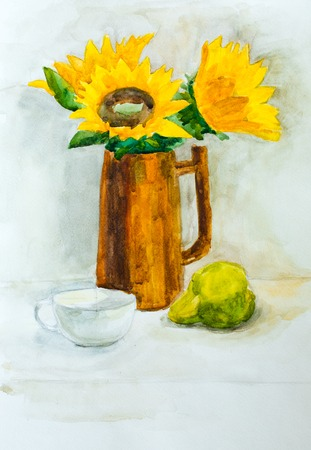 Still life, watercolor drawing canvas Imagens