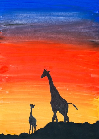 Giraffes at sunset, watercolor illustration for your design
