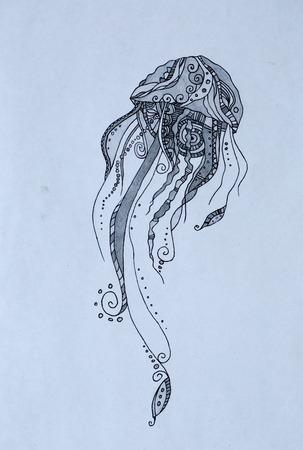 Jellyfish, black pencil illustration for your design
