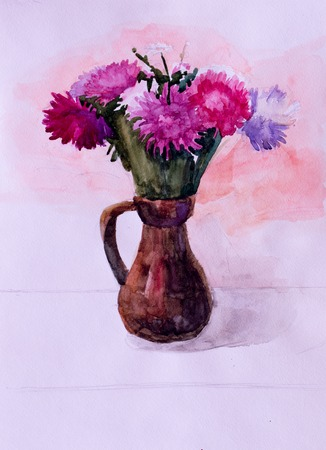 still life: Still life, watercolor drawing canvas Stock Photo
