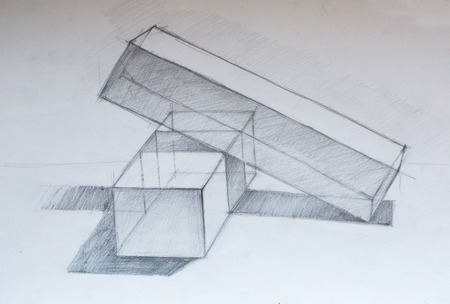 cuboid: Still life, pencil drawing