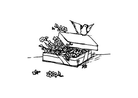 Gift and flower, vector illustration on your canvas Ilustração