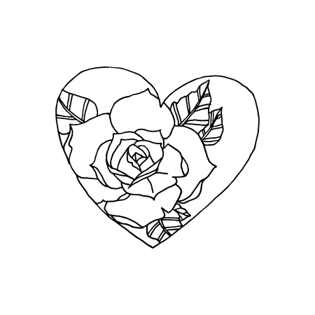 Heart and rose, vector illustration on your canvas
