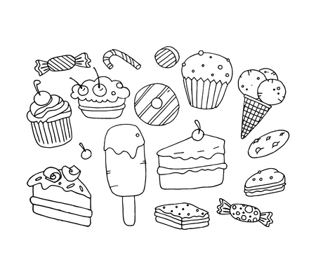 Ice cream, cake, vector illustration on your canvas