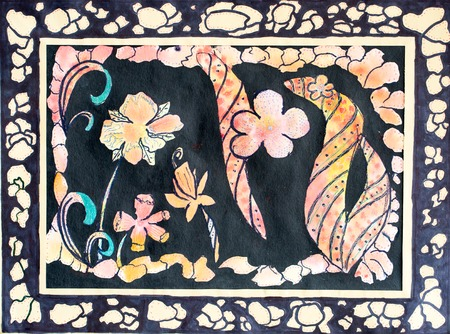 Frame and flowers, watercolor illustration for your design