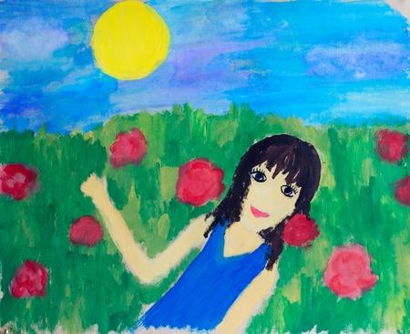 Girl in field, watercolor illustration Imagens