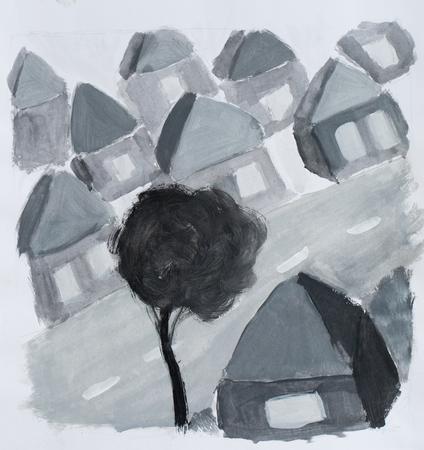 Village, watercolor illustration