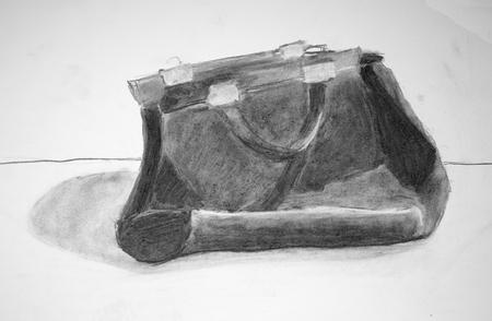 A bag, pencil illustration