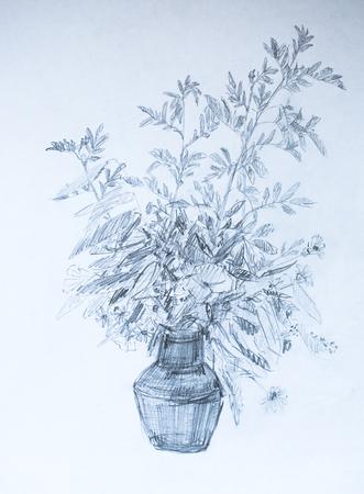 Twigs in a vase, pencil illustration