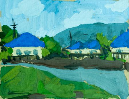 River in village, watercolor illustration