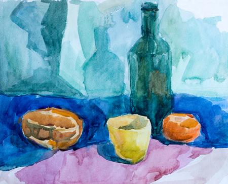 Still life, watercolor drawing Imagens