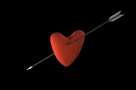 Heart with arrow 3D rendering. Heart pierced by an arrow. Arrow in the heart. Red heart with a brown arrow. 3D.